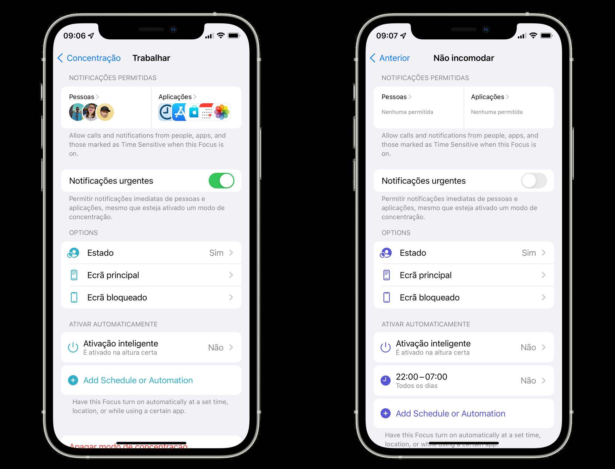 Modo de concentração no iOS 15 beta 3