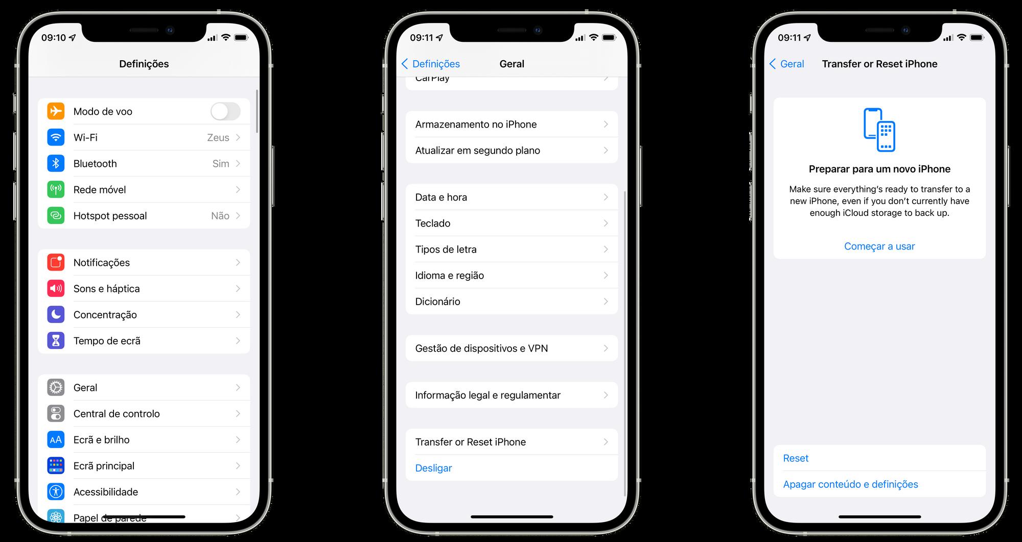 Transfer or Reset iPhone no iOS 15 beta 3