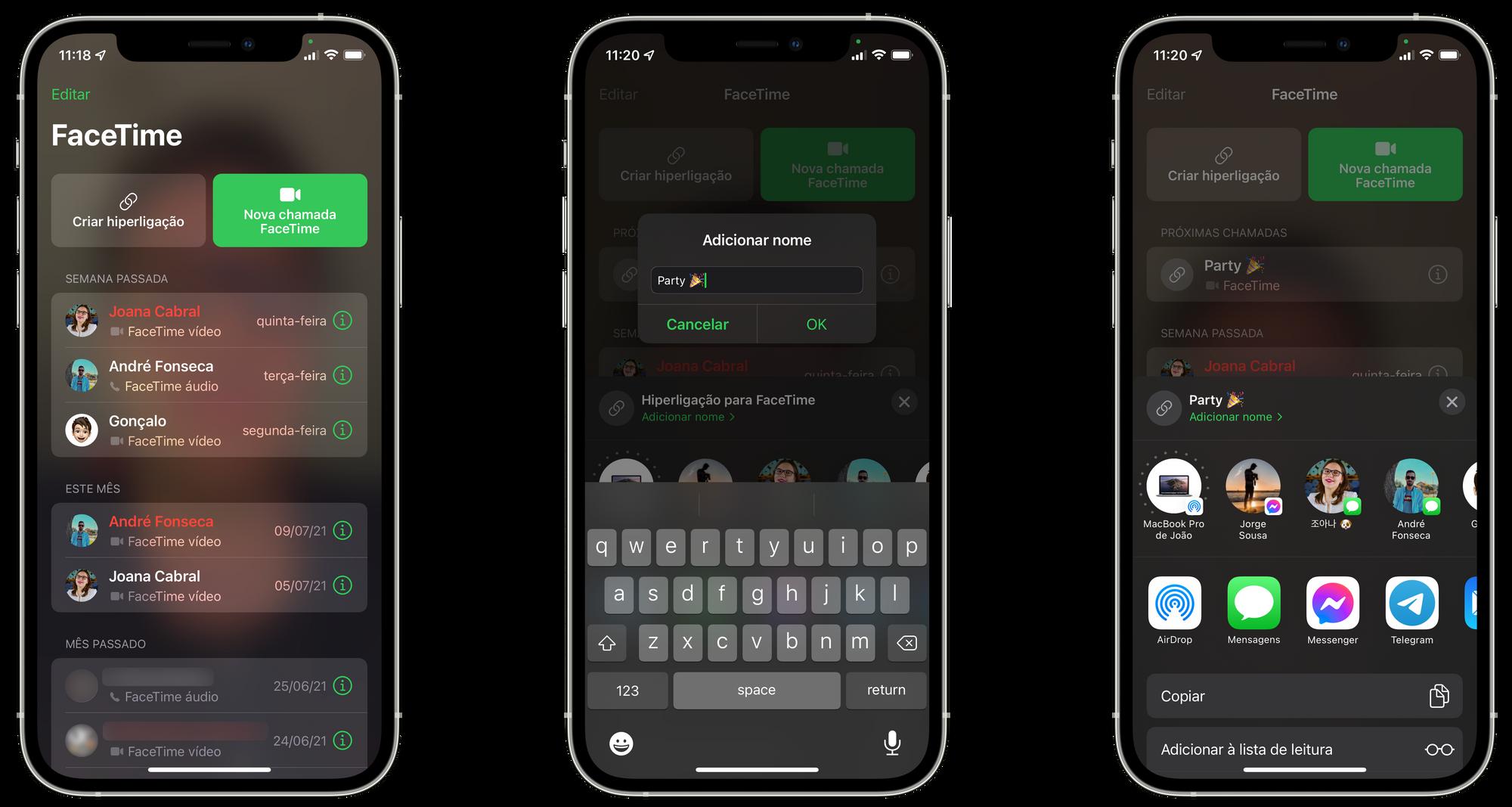 Criar uma chamada FaceTime com utiizadores Android, Windows ou Linux no iOS 15