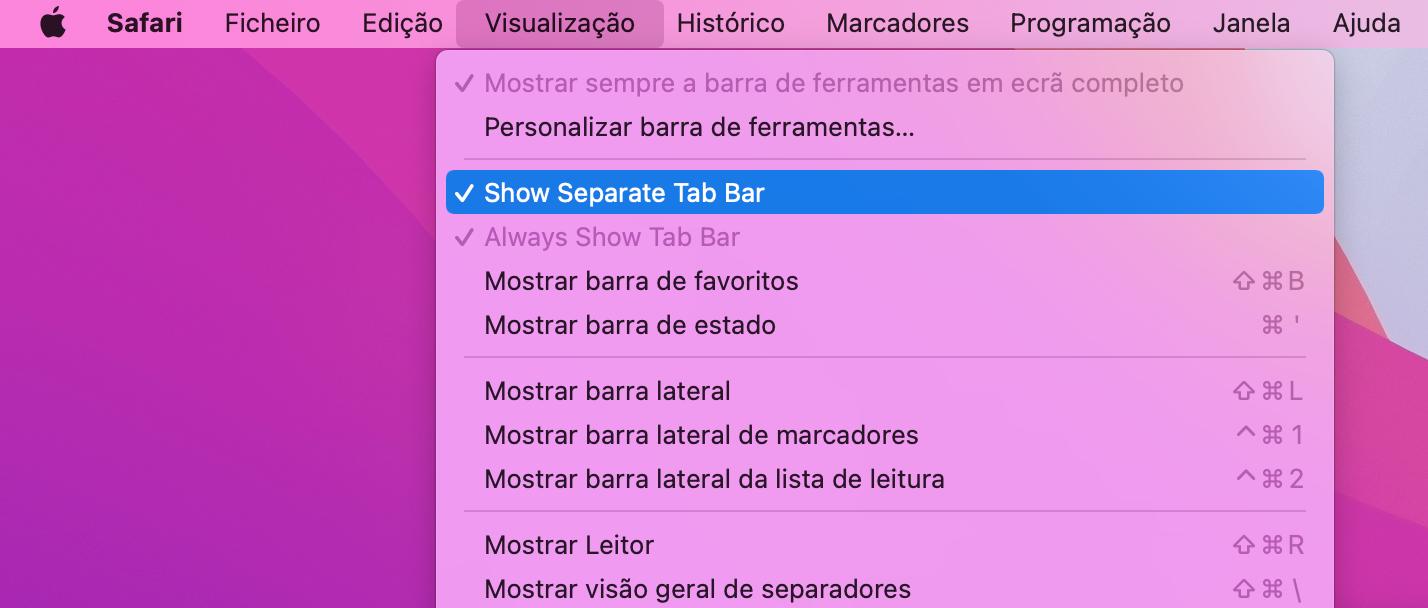 Definições de visualização do Safari no macOS Monterey beta 3
