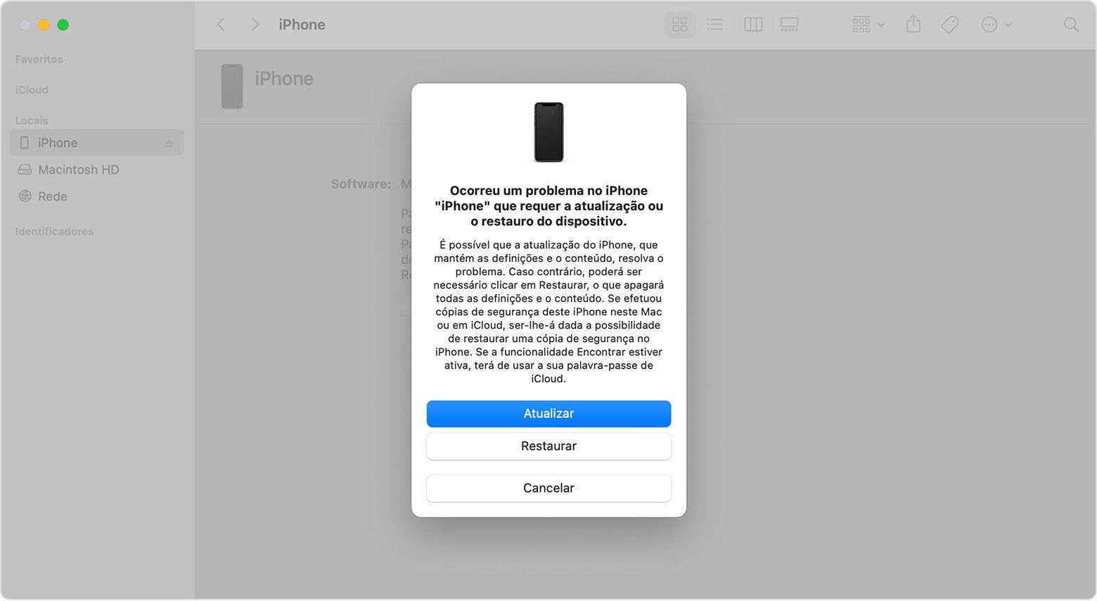 Restaurar o iPhone através do Mac ou PC