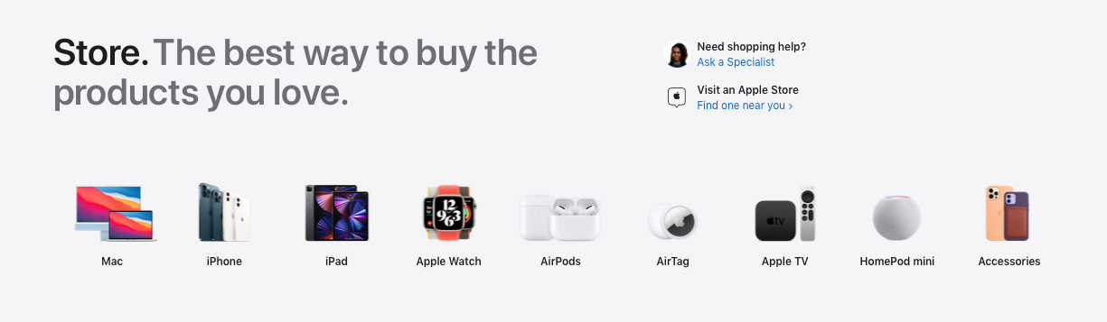 Produtos disponíveis na Apple Store