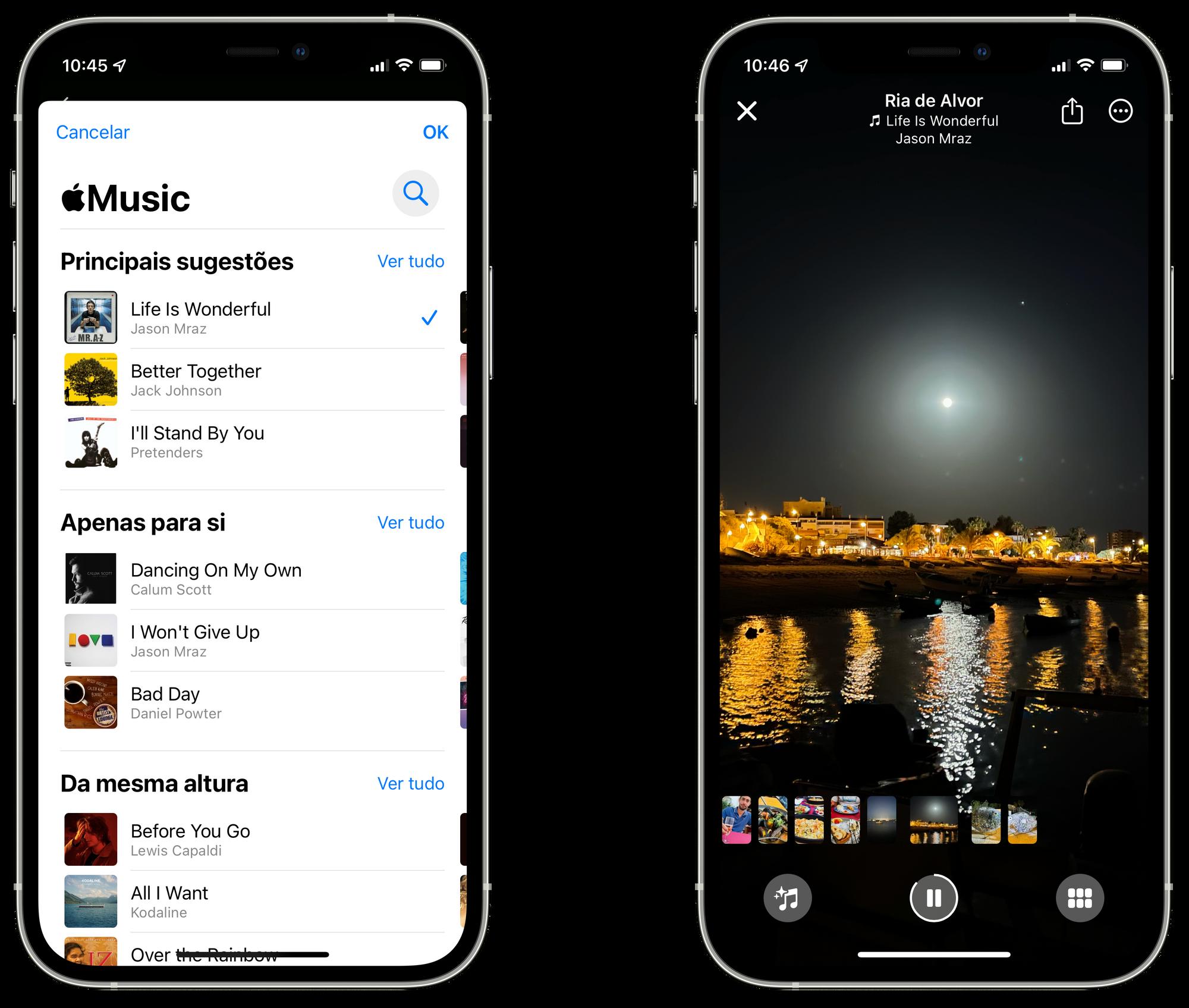 Selecionar uma música do Apple Music para um vídeo recordação no iOS 15