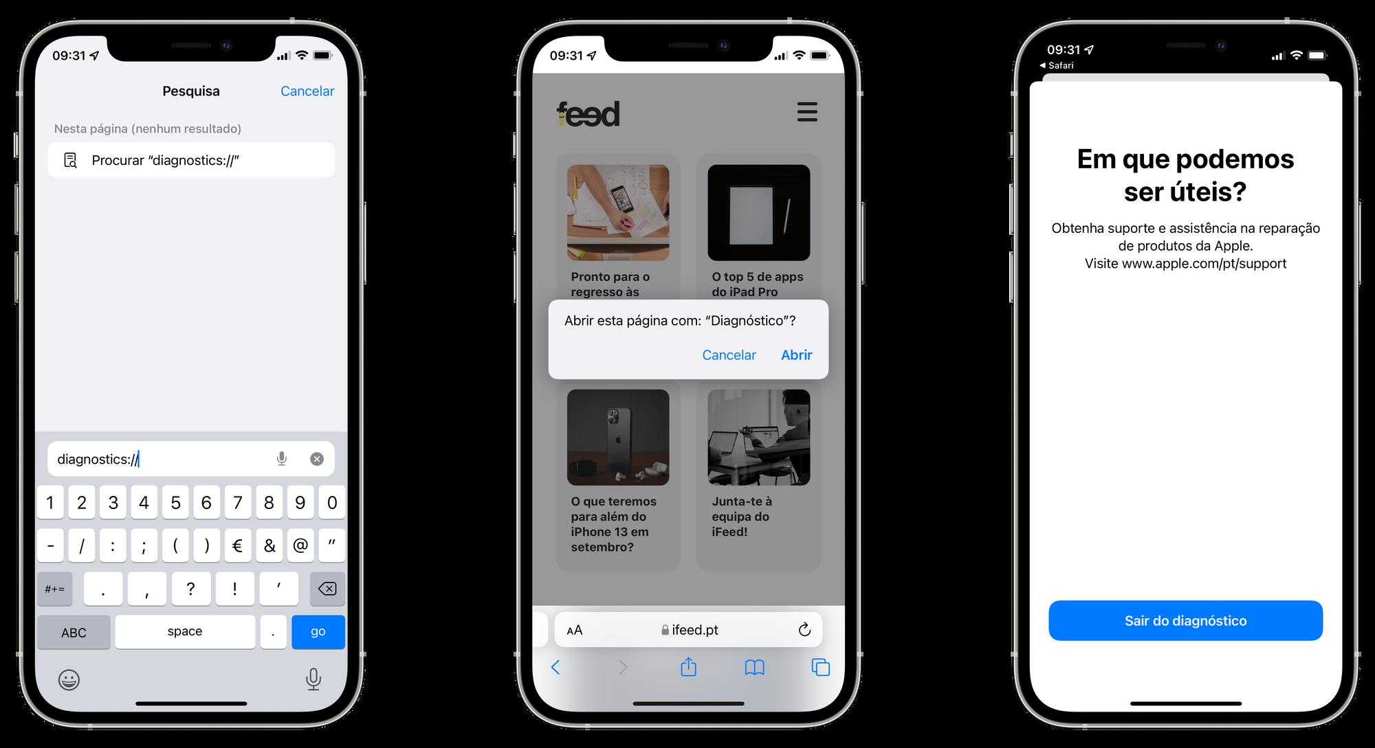 App Diagnósticos no iPhone com iOS 15