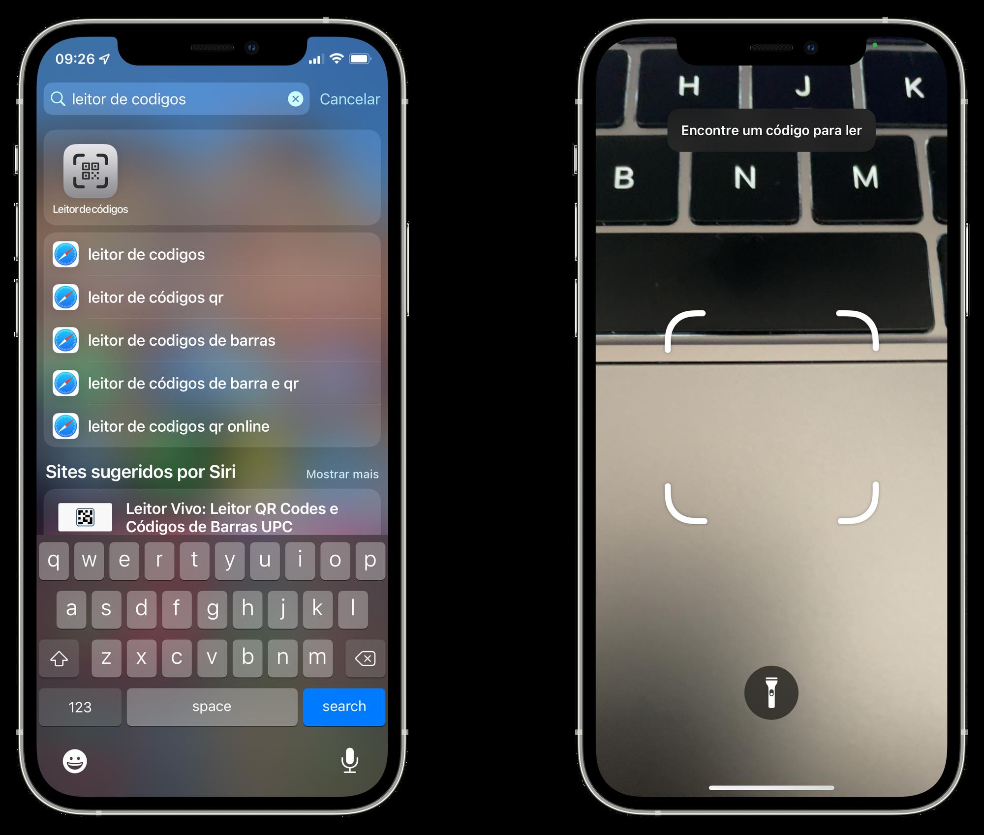 App Leitor de Códigos no iPhone com iOS 15