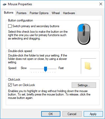 Menu de configuração do rato Windows 10